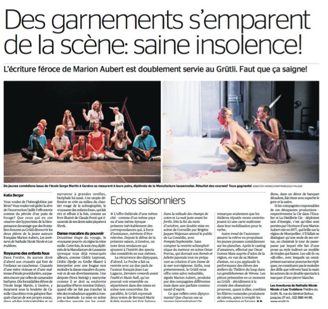 La Tribune de Genève, le 15 octobre 2013, Katia Berger
